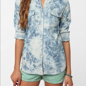UO Acid Washed Chambray Button Up